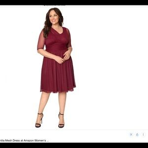 Kiyonna Emilia Mesh Dot Dress NWT 2X Burgundy